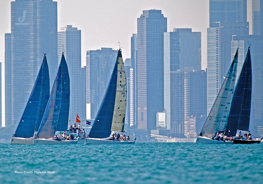 J/111 North Americans- Chicago- fleet sailing off starting line